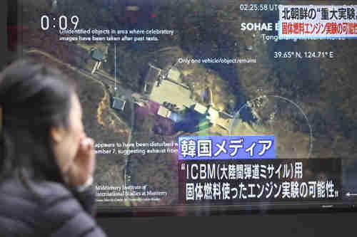 A public TV screen Monday in Tokyo shows North Korea's Sohae long-range rocket launch site (AP)