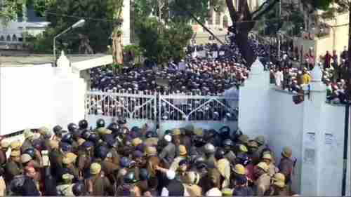 Students and police face off at Nadwa College in Lucknow (ANI)