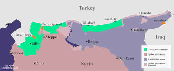 Map of Syria showing areas of control by Syria, Turkey and Kurds (New Humanitarian)