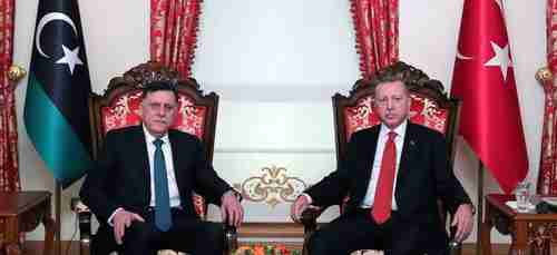 Turkey's President Recep Tayyip Erdogan (R) and Fayez al-Sarraj (L), the head of Libya's Tripoli-based Government of National Accord (GNA), meeting in Istanbul on November 27 (Anadolu)