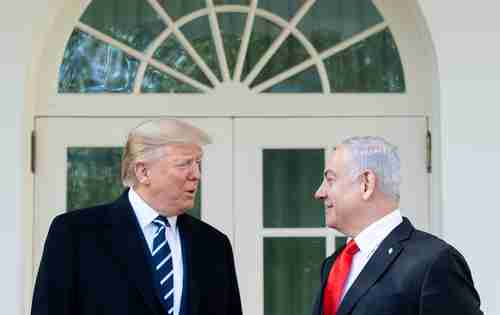 Donald Trump and Benjamin Netanyahu at the White House to discuss the new Mideast peace plan (AFP)