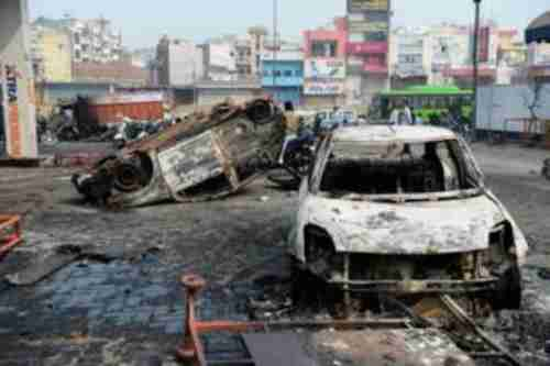 Aftermath of Hindu-Muslim ethnic clashes in Delhi on Wednesday (AFP)