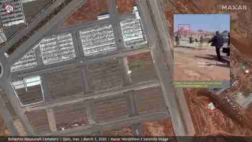 New large burial trenches in Qom visible from space.  Inset photo shows a man carrying a coffin to burial trench (Vox)