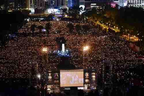 Annual Hong Kong vigil on June 4, 2019, to commemorate the Tiananmen Square massacre in 1989. (Hong Kong Free Press)
