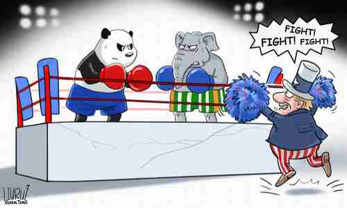 Chinese cartoon blaming China-India conflict on incitement by the US (Global Times)
