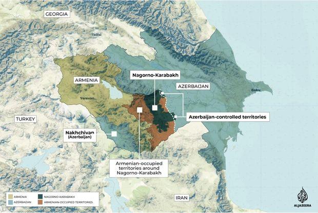 Topographical map of the Armenia, Azerbaijan and Nagorno-Karabakh (Al-Jazeera)