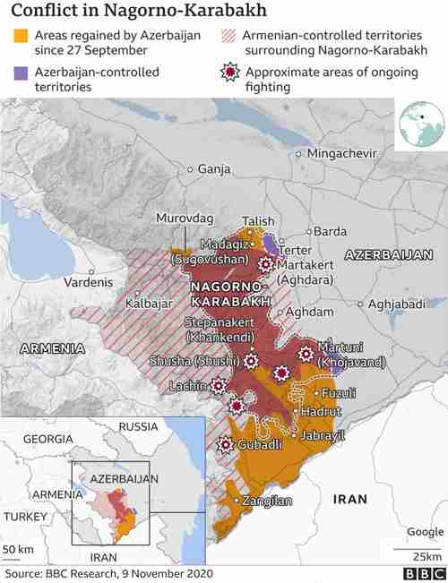 Map of Azerbaijan and Armenia, showing the Nagorno-Karabakh conflict region (BBC)