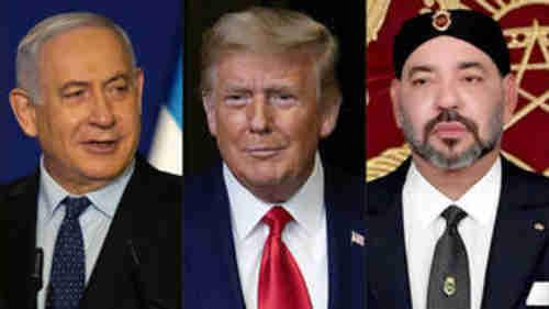 Israeli Prime Minister Benjamin Netanyahu, US President Donald Trump and Morocco's King Mohammed VI (AFP)