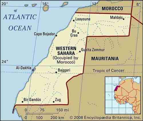 Map of Western Sahara (Britannica)