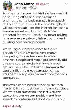 Jan 9 announcement by John Matze, CEO of Parler.com, of a coordinated attack by Twitter, Google and Amazon