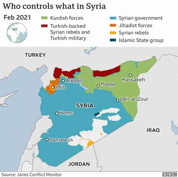 Map of Syria showing areas of control, as of February 2021 (BBC)