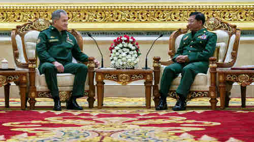 Friday meeting between Russia's defense minister Sergei Shoigu and Myanmar's army leader Min Aung Hlaing to discuss Russia's support for the slaughter (Tass)
