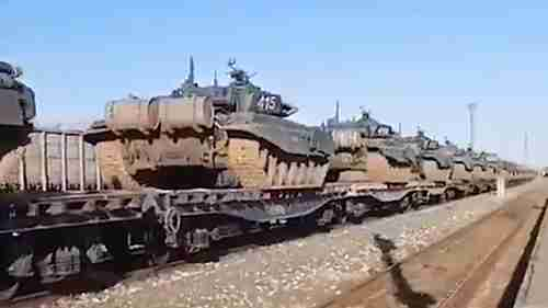 A trainload of tanks in southwestern Russia headed in the direction of the border with Ukraine earlier this week