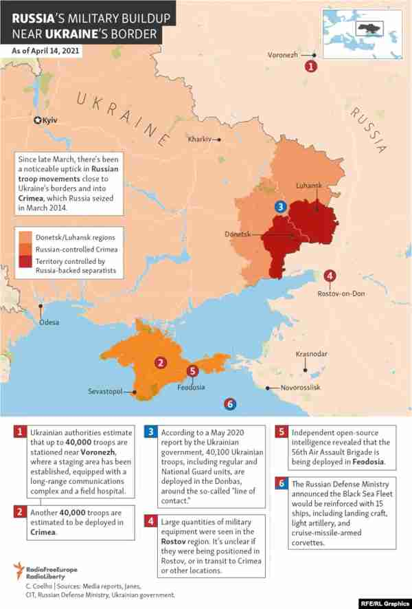 Map of Russian deployment around Ukraine (RFE/RL)