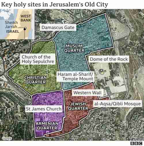 Map of holy sites in Jerusalem's Old City (BBC)