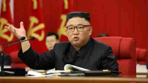 Kim Jong-un last week announcing the 'tense' food shortage (Reuters)