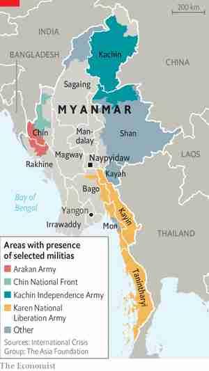 Map of Myanmar / Burma, showing verious ethnic groups and militias (EAGs) (Economist)