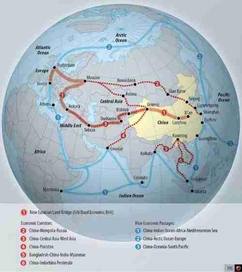 Globe showing China's Belt and Road Initiative (BRI) (Switzerland's Federal Intelligence Service)
