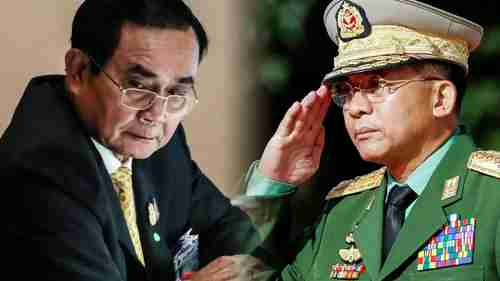 Thailand's Prime Minister Prayuth Chan-ocha, Myanmar's leader Gen. Min Aung Hlaing. (Reuters)