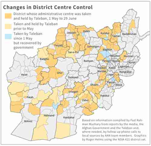 Map of Afghanistan showing recent rapid advance of Taliban (Afghan-Analysts)