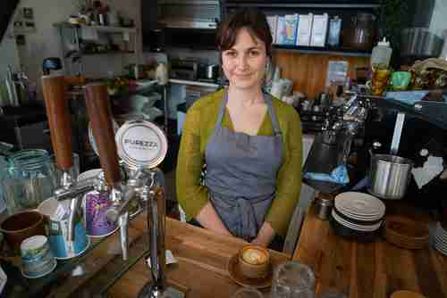 Anika Havey, owner of Folklore Cafe in Port Adelaide, where nuclear-powered submarines will be built (Australian Broadcasting)