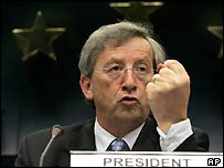 Jean-Claude J�ncker in 2005, shaking his fist at British prime minister Tony Blair (BBC)