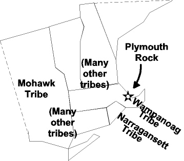 New England in 1675.  The Pilgrims had landed in 1620 at Plymouth Rock, in the midst of the Wampanoag tribe.