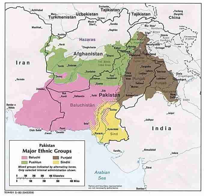 Afghan-Pak-India ethnic map