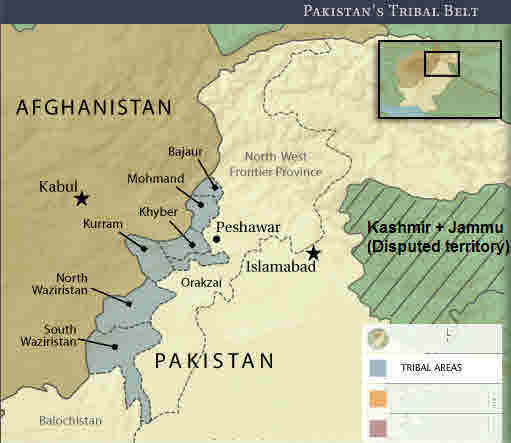 Pakistan's  Federally Administered Tribal Areas (FATA) form a safe haven for Taliban and al-Qaeda terrorists striking Afghanistan. <font face=Arial size=-2>(Source: cfr.org)</font>