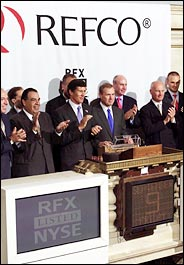 Ebullient Refco execs at Stock Exchange a month after the August IPO <font size=-2>(Source: Bloomberg)</font>