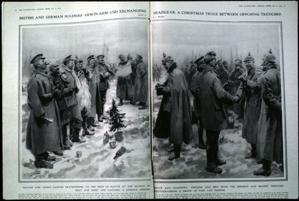 "Christmas truce drawing from the London News of January 9, 1915.  The drawing's caption reads, in part, ""British and German soldiers arm-in-arm and exchanging headgear: a Christmas truce between opposing trenches. Drawn by A. C. Michael."""