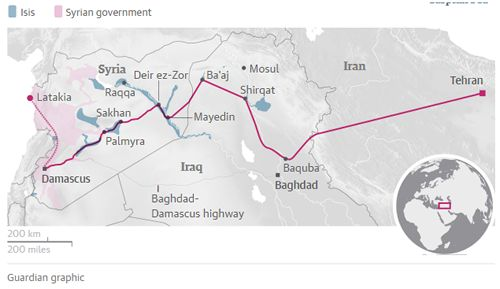 Iran's land route from Tehran to Mediterranean Sea, through Baghdad and Damascus (Guardian)