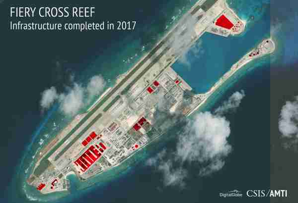 China's continuing military buildup on Fiery Cross island.  This year alone, there was construction on buildings covering 27 acres, or about 110,000 square meters (AMTI/CSIS)