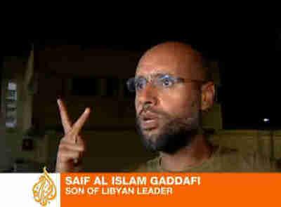 Saif al-Islam Gaddafi shows up for reporters (Al-Jazeera)