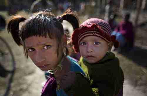 Children in Assam relief center on Thursday (AP)