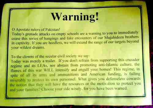 Warning letter left by terrorists after bombing Karachi school on Tuesday