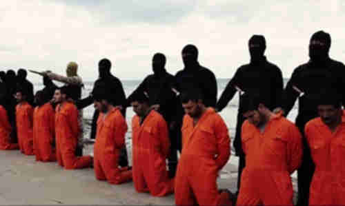 Screen grab from terrorist recruiting and public relations video showing Egyptian Coptic Christian fishermen just prior to beheading