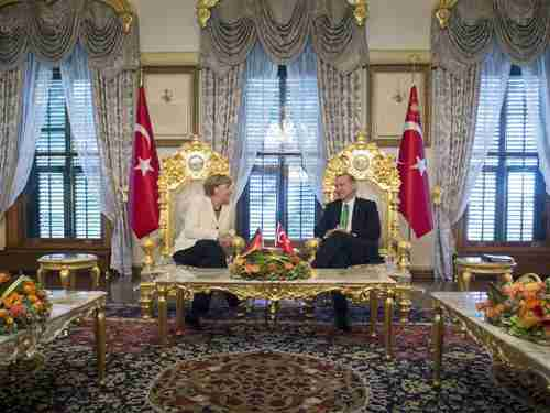 Merkel and Erdogan in Istanbul on Sunday (Getty)