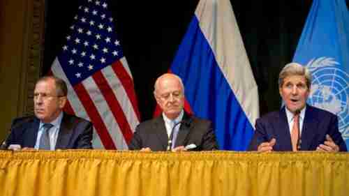 L-R: Sergei Lavrov, United Nations Special Envoy for Syria Staffan de Mistura, and John Kerry in Vienna on Friday (state.gov)