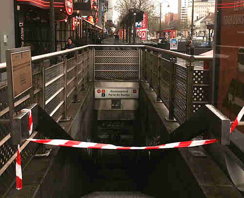 Closed metro entrance in Brussels on Saturday (EU Observer)