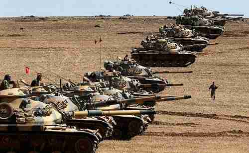 Turkey's military on the border with Syria in 2015
