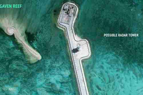 Satellite image showing construction of possible radar tower facilities in the Spratly Islands in the South China Sea (Reuters)