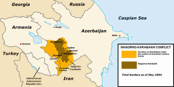 Nagorno-Karabakh borders as of May 1994. They've been frozen since then. (ADST)
