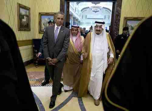 President Obama and Saudi King Salman in the Erga Palace in Riyadh on Wednesday (AP)