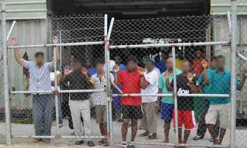 Asylum seekers on Manus island detention center (AAP)