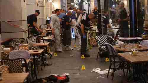 Police at scene of Wednesdays attack in Tel Aviv (Haaretz)
