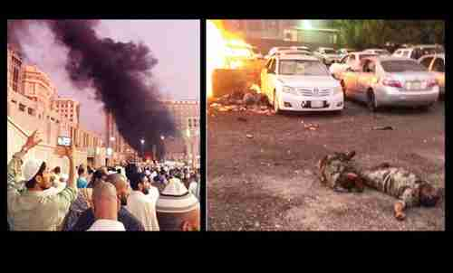 The aftermath of the suicide bombing attack on the Prophet's Mosque in Medina, Saudi Arabia (Arab News)
