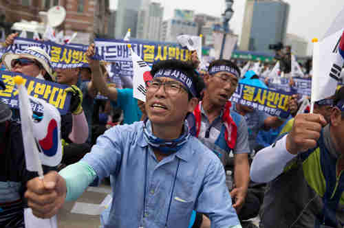 Residents of Seongju, where Thaad is to be deployed, conducting anti-Thaad protests in Seoul (Korea Times)