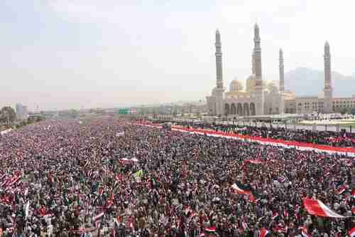 Anti-Saudi rally in Sanaa Yemen on Saturday (Twitter)