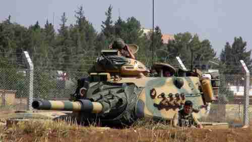 A Turkish tank in Suruc, near the Syrian border, on Saturday. (AP)